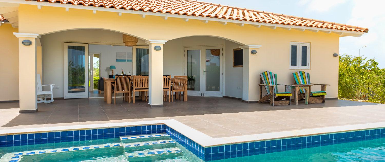 Para Blou Bonaire - Achterzijde villa